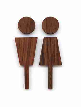 Walnut Wood Male & Female Toilet Sign by Hacoa