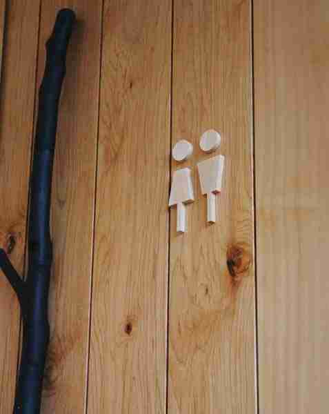 Maple Wood Male & Female Toilet Sign by Hacoa