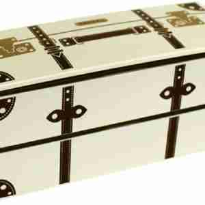 Vintage Trunk Look Lunch Box - Cream