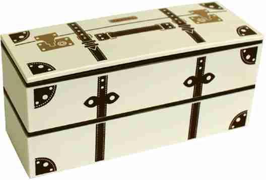 Vintage Trunk Look Lunch Box - Cream