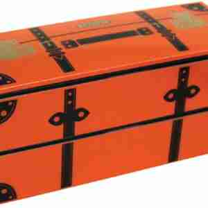 Vintage Trunk Look Lunch Box - Orange