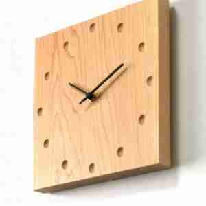 Square Wooden Wall Clock (Large) in Walnut by Hacoa