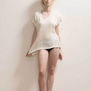 Paneled Soft Bamboo T-shirt by Maytide - Milk