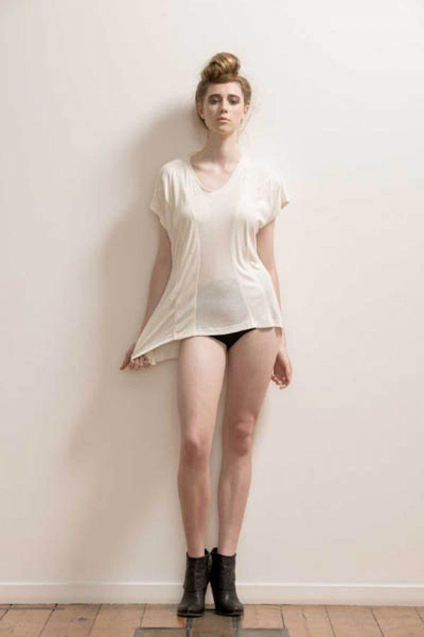 Paneled Soft Bamboo T-shirt by Maytide - Milk