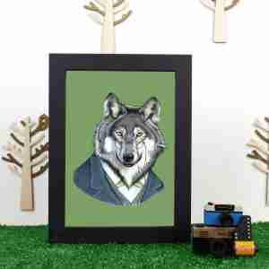 Ryan Berkley Well Dressed Wolf Framed Print Wall Art